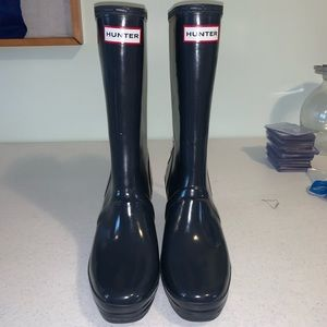 Hunter Verbier Wedge Lace Up Back Rain Boots